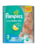 Pampers Active Baby 3 Pieluszki Midi Giant Pack - 90 sztuk
