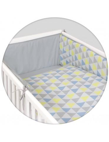 Ceba zestaw pościeli 3-elementowy trójkąty niebiesko-żółte lux