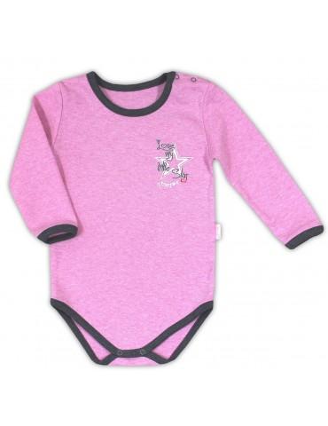 Body niemowlęce bawełniane długi rękaw różowe SUPER STAR 74-98 Nicola
