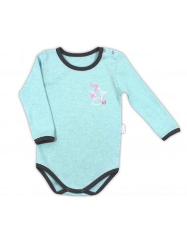 Body niemowlęce bawełniane długi rękaw turkusowe SUPER STAR 74-98 Nicola