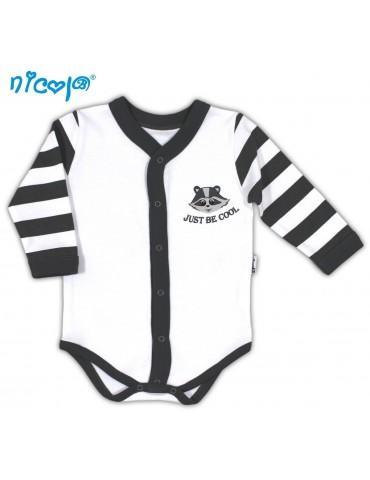 Body niemowlęce bawełniane rozpinane długi rękaw SZOP 52-68 Nicola