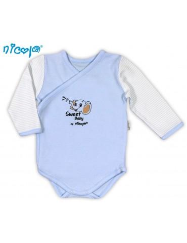 Body niemowlęce bawełniane rozpinane długi rękaw SŁONIK 48-68 Nicola