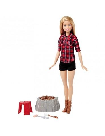 Barbie Lalka Barbie Blondynka na biwaku Światło Dźwięk