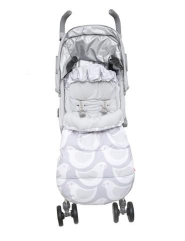 Motherhood 2w1 Śpiworek i Antywstrząsowa wkładka do wózka Ptaszki szare