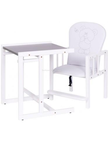 Drewex Krzesełko drewniane do karmienia Antoś Miś i Motylek Srebrny biały