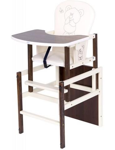 Drewex Krzesełko do karmienia Antoś Miś i Motylek orzech / ecru