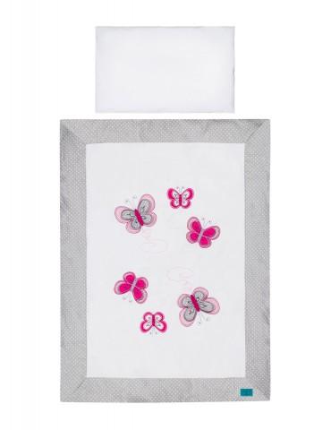 Belisima Baby Pościel 3 - elementowa 135/100 Motylkowy Obraz szary