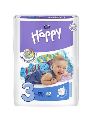 Pieluszki Bella Baby Happy 3 Midi -52 sztuki