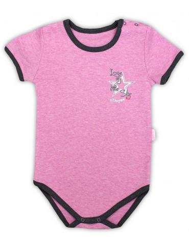 Body niemowlęce bawełniane krótki rękaw różowe SUPER STAR 74-98 Nicola