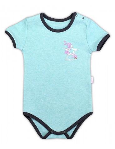 Body niemowlęce bawełniane krótki rękaw turkusowe SUPER STAR 74-98 Nicola