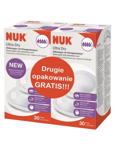 NUK Wkładki laktacyjne Ultra Dry/2 opakowanie gratis 60szt