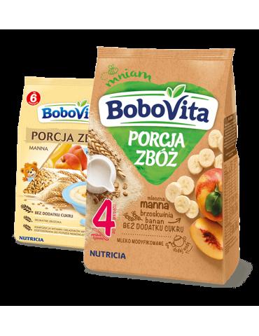 Kaszka porcja zbóż mleczna manna brzoskwiniowo-bananowa 210g BoboVita