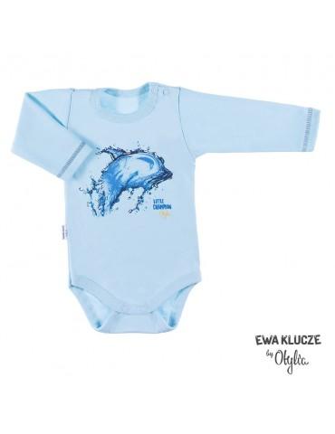 Body niemowlęce bawełniane chłopięce turkusowa LITTLE CHAMPION by Otylia 68-98 Ewa Klucze