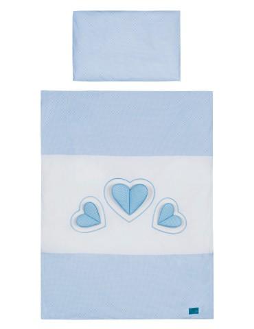Belisima Baby Pościel 3 - elementowa 135/100 3 Serca Niebieskie