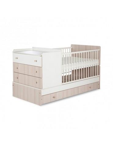Łóżeczko dziecięce 97x175x87 cm Klupś Kompakt ecru-jesion