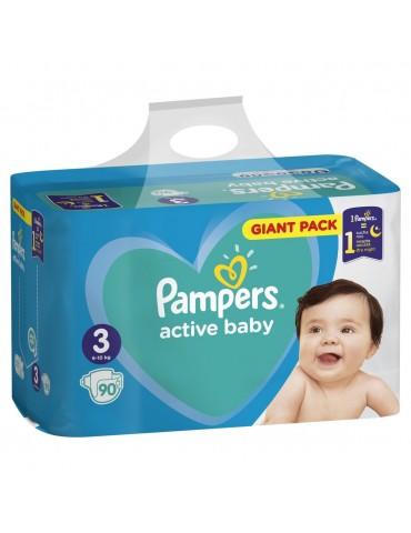 Pampers Active Baby, Pieluchy jednorazowe rozmiar 3 Midi 6-10 kg 90 szt.