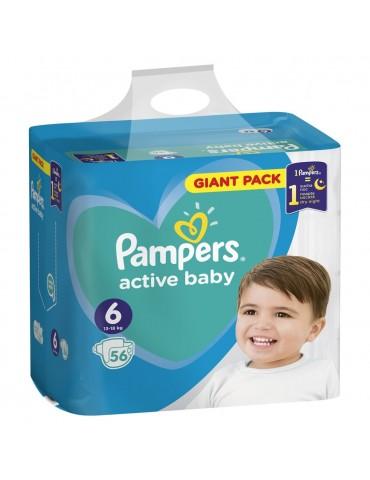 Pampers Active Baby Pieluchy jednorazowe Rozmiar 6 Extra Large 13-18 kg 56 szt.