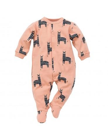 Pajac niemowlęcy bawełniany pomarańczowy HAPPY LLAMA 56-92 Pinokio