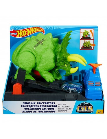 Hot Wheels City Zestaw Starcie z Triceratopsem