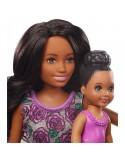 Barbie Skipper Zestaw z wanną Lalka Opiekunka fioletowe kwiaty i dziecko