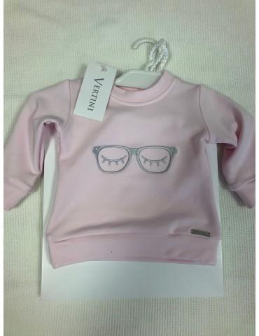 Bluza niemowlęca bambusowa haft OKULARY róż  62-74 Vertini