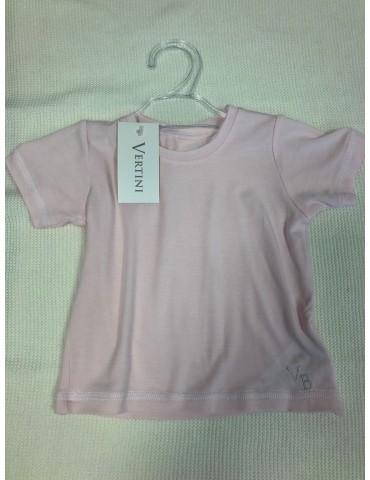 T-shirt Bluzka niemowlęca bambusowa krótki rękaw haft róż 62-74 Vertini