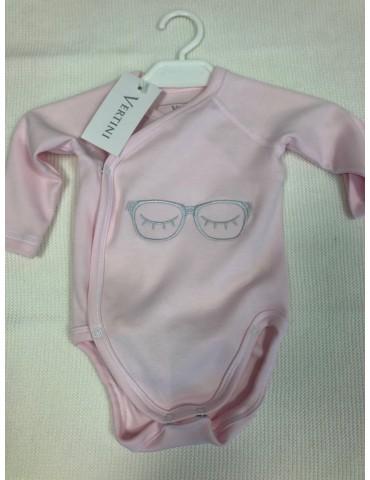 Body niemowlęce bawełniane OKULARKI róż haft 56-68 Vertini