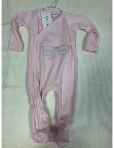 Pajac niemowlęcy bawełniany OKULARKI róż haft 56-68 Vertini