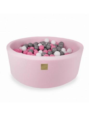 Zorin Różowy suchy basen 40cm z kulkami kulki szare,białe,ciemny róż,transparent
