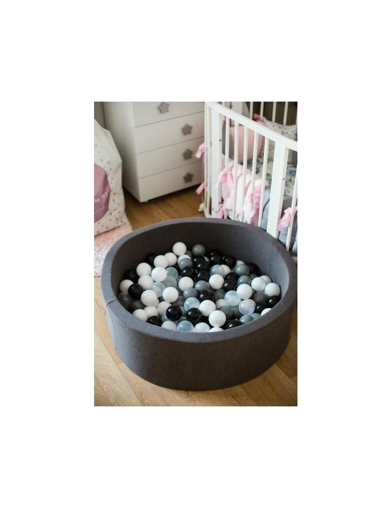 MeowBaby Czarny suchy basen 40cm z kulkami kulki białe, baby blue,szare,transparent