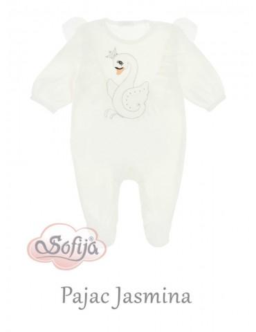 Pajac niemowlęcy welur JASMINA ecru 56-68 Sofija
