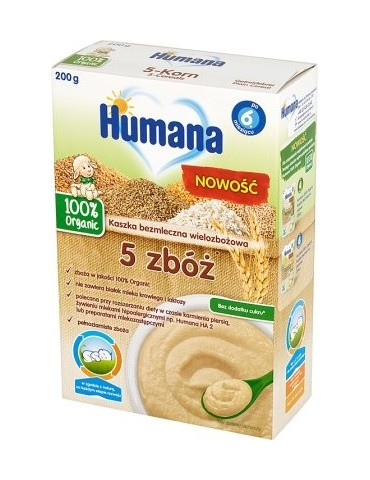 Humana 100% Organic kaszka bezmleczna 5 zbóż po 6. miesiącu
