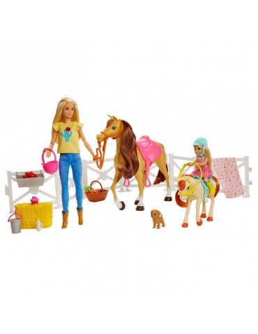 Barbie Zestaw Stadnina Koni Lalka Barbie Chelsea i 2 Konie