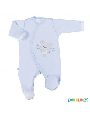 Pajac niemowlęcy bawełniany niebieski NEWBORN 50-62 Ewa Klucze