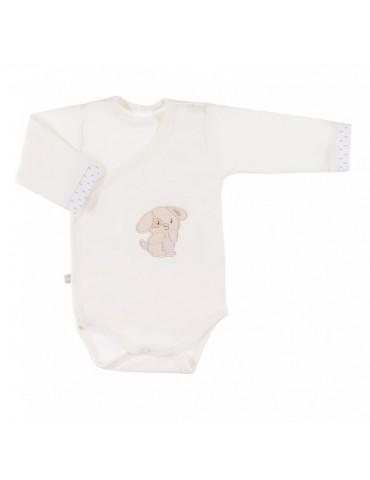 Body niemowlęce bawełniane długi rękaw regulowane ecru NEWBORN 50-62 Ewa Klucze