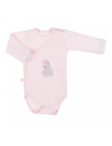 Body niemowlęce bawełniane długi rękaw regulowane różowe NEWBORN 50-62 Ewa Klucze
