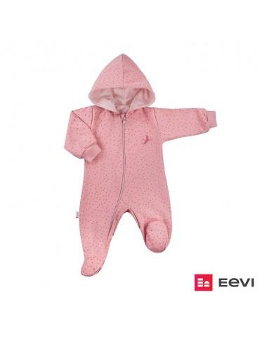 Pajac niemowlęcy bawełniany z podszewką kropki SKY 56-68 Ewa Klucze