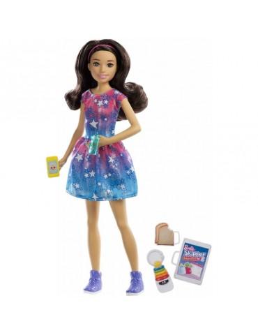 Barbie Skipper Lalka Opiekunka dziecięca w sukience w gwiazdki i Akcesoria