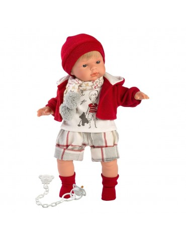 Llorens Lalka płacząca Sasha 38 cm czerwona bluza i czapka