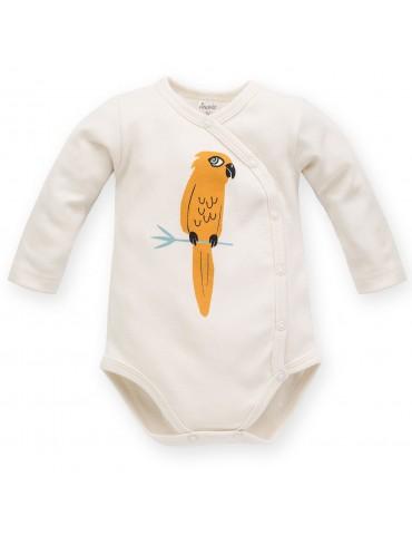 Body niemowlęce bawełniane rozpinane długi rękaw ecru NICE DAY 56-68 Pinokio
