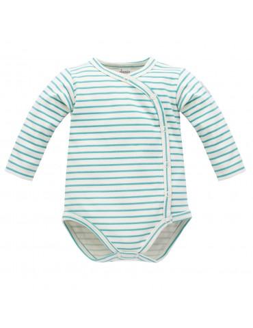 Body niemowlęce bawełniane rozpinane długi rękaw niebieskie paski NICE DAY 56-74 Pinokio