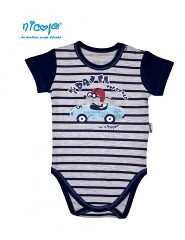 Body niemowlęce bawełniane krótki rękaw CAR 74-92 Nicola