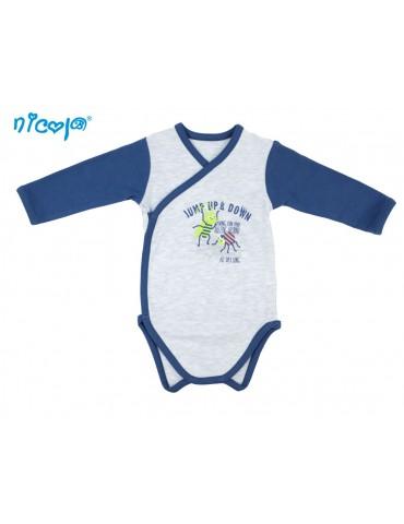 Body niemowlęce bawełniane rozpinane długi rękaw szare WORMS 52-62 Nicola