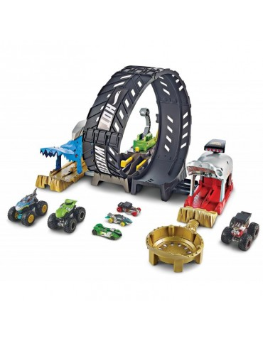 Hot Wheels Monster Trucks Monster Pętla Zestaw + Pojazd Monster Trucks i Samochodzik Twin Mill