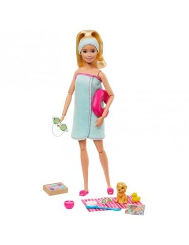 Barbie Zestaw Relaks w SPA Lalka z pieskiem i Akcesoria