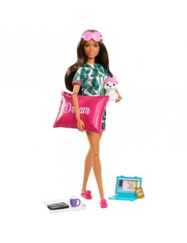 Barbie Zestaw Relaks na dobranoc Lalka z pieskiem i Akcesoria