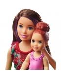 Barbie Skipper Zestaw z wanną Lalka Opiekunka czerwone kwiaty i dziecko