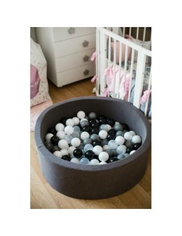 MeowBaby Ciemnoszary suchy basen 40cm z kulkami kulki białe, baby blue,szare,transparent