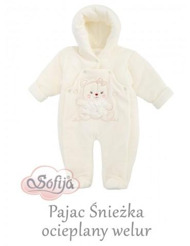 Pajac niemowlęcy Welur ocieplany Śnieżka 56-68 Sofija