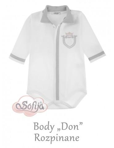 Body niemowlęce bawełniane długi rękaw szare Don 56-68 Sofija